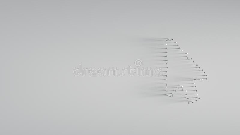 Various of metal nails in shape of mouse pointer. On gray background with long shadows directed to right stock photo