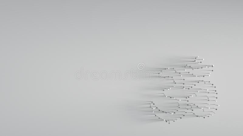3D rendering various metal nails in shape of om symbol. Various of metal nails in shape of om symbol on gray background with long shadows directed to right vector illustration