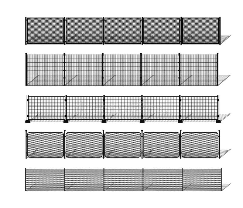 Various metal wire and chain-link fence silhouettes with shadows. vector illustration