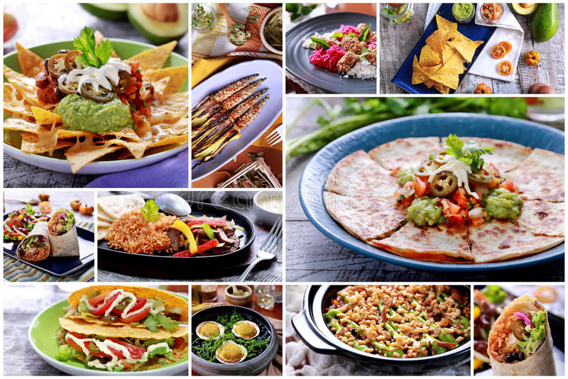 Various mexican food buffet, close up stock images