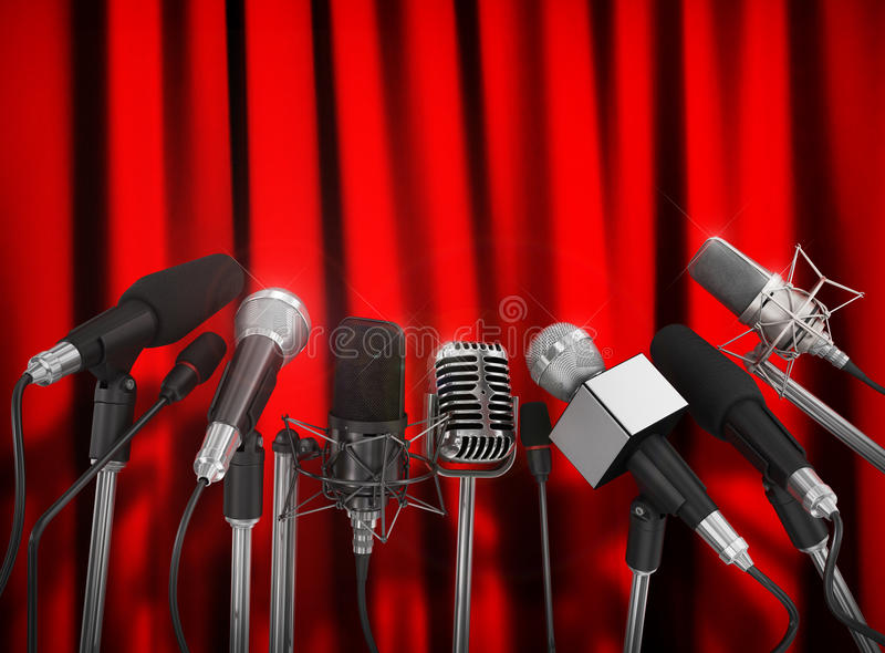 Various microphones royalty free stock photography