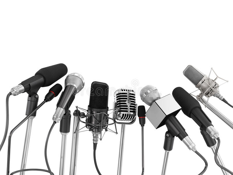 Download Various Microphones Aligned At Press Conference Stock Image - Image of conference, interview: 49217089