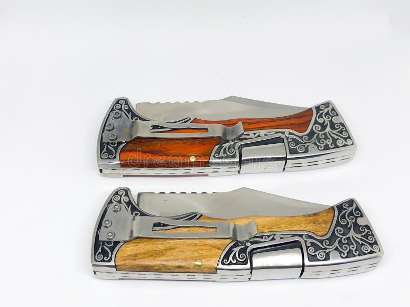 Various models pocket knife. Various models pocket knife, white background stock photo