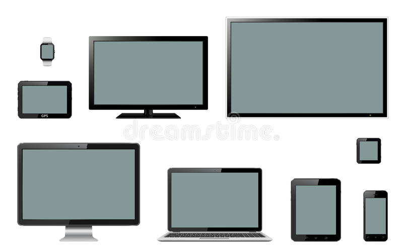 Various modern electronic gadgets on background stock illustration