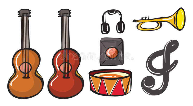Download Various Musical Instruments Stock Vector - Illustration of material, symbol: 32733606