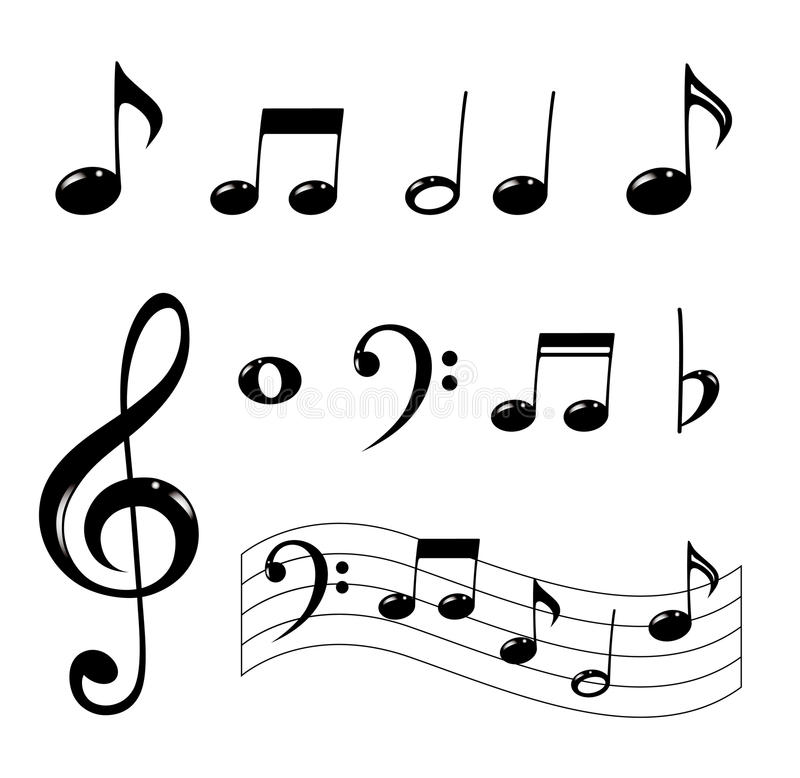 Download Various Musical Notes In Black Stock Vector - Image: 18698041