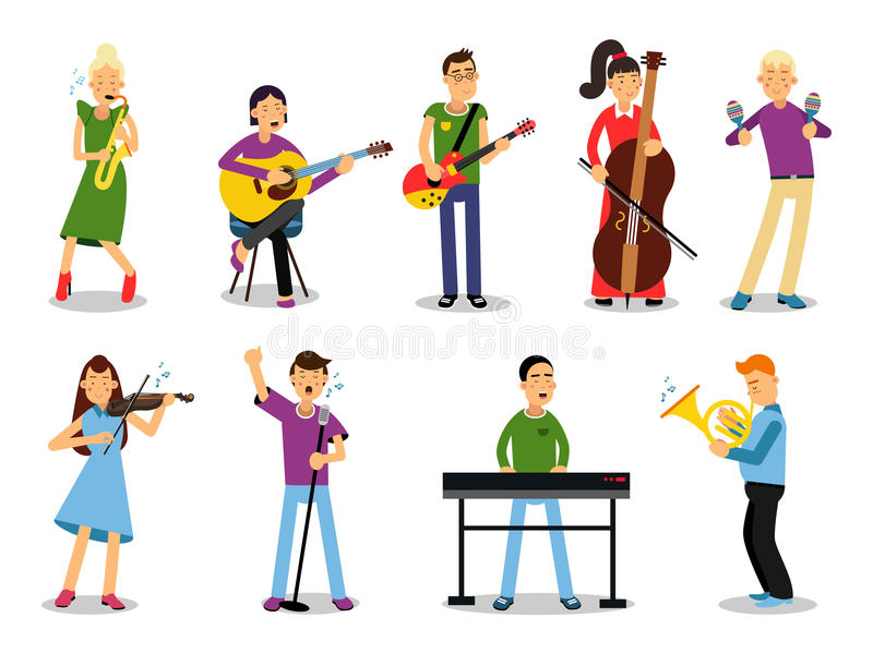 Various musicians, characters in flat style vector illustration stock illustration