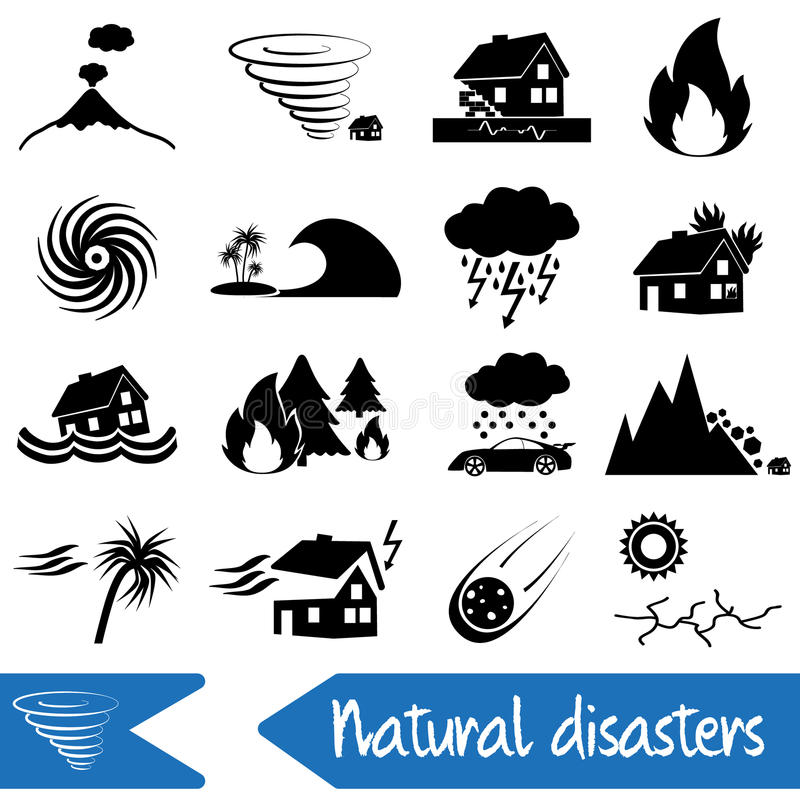 Various natural disasters problems in the world icons eps10 royalty free illustration