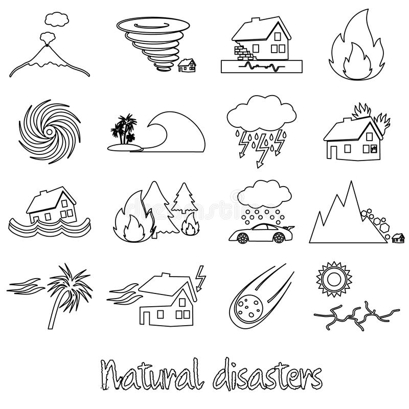 Various natural disasters problems in the world outline icons eps10 stock illustration