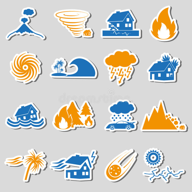Various natural disasters problems in the world stickers icons eps10 royalty free illustration