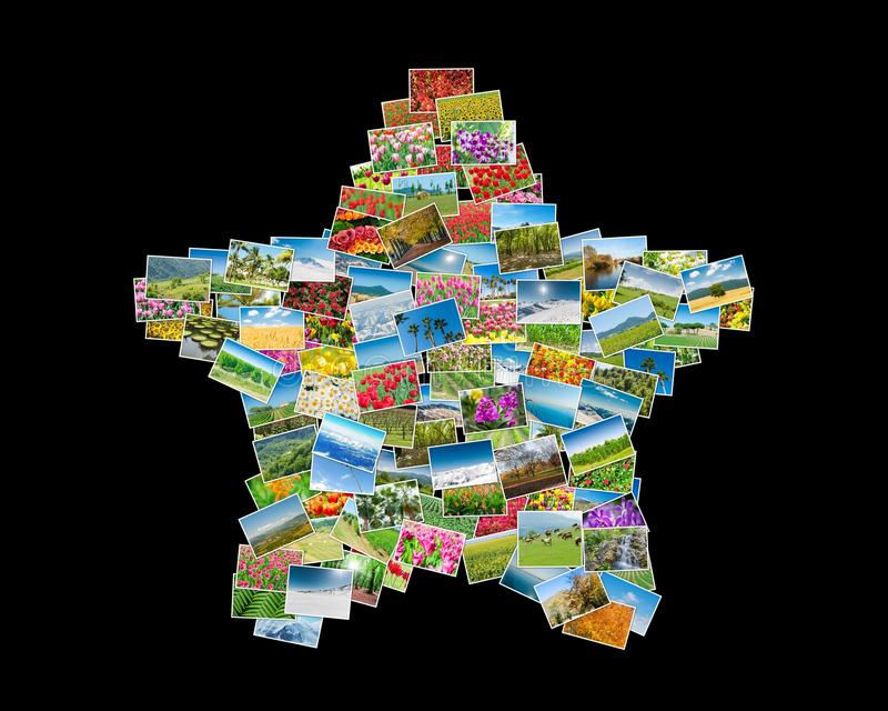 The various nature photos arranged in star shape royalty free stock photo