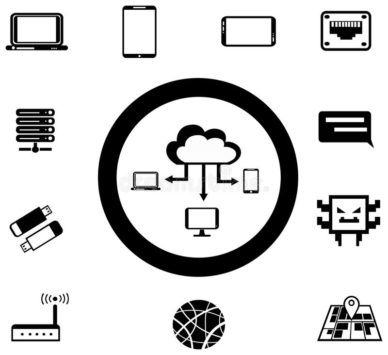 Various IT And Network Media Icon And App Collecti Stock Vector