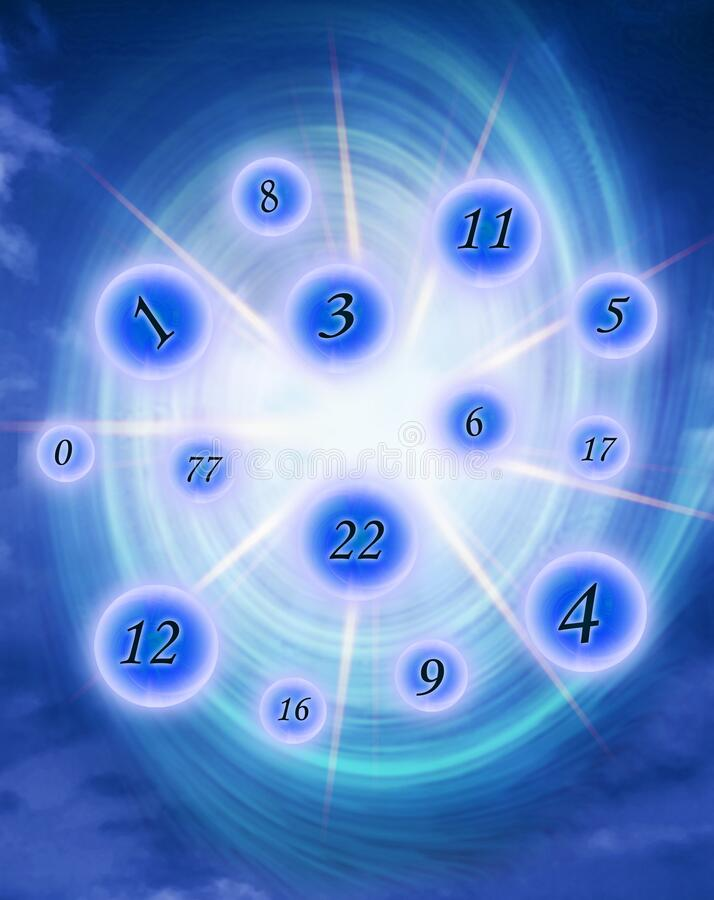 Free Various Numbers With Rays Of Light And Energy Blue Whirl Stock Photography - 214542892