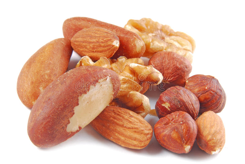 Various nuts isolated royalty free stock photos