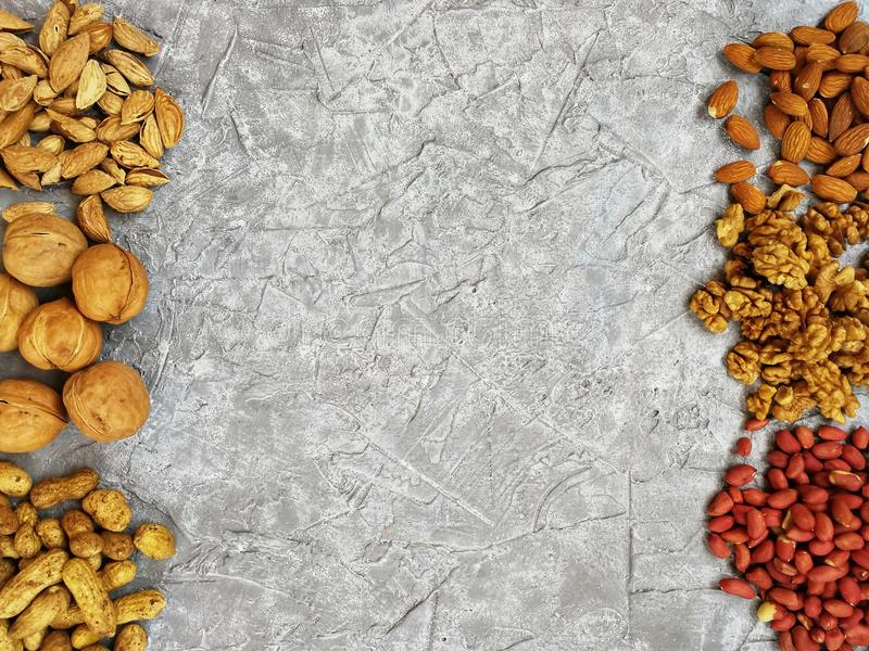 Various nuts peeled and in-shell single and together royalty free stock image