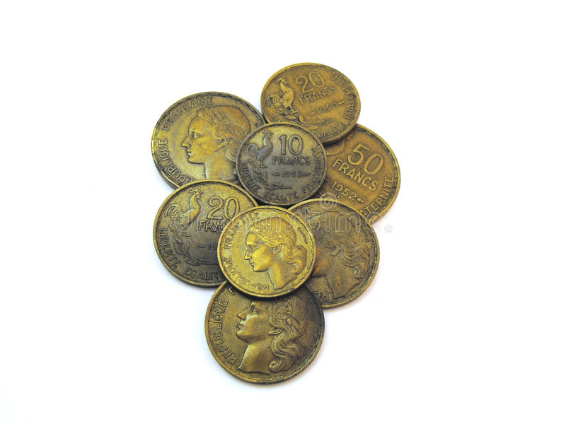 Various Old Used French Francs royalty free stock photos