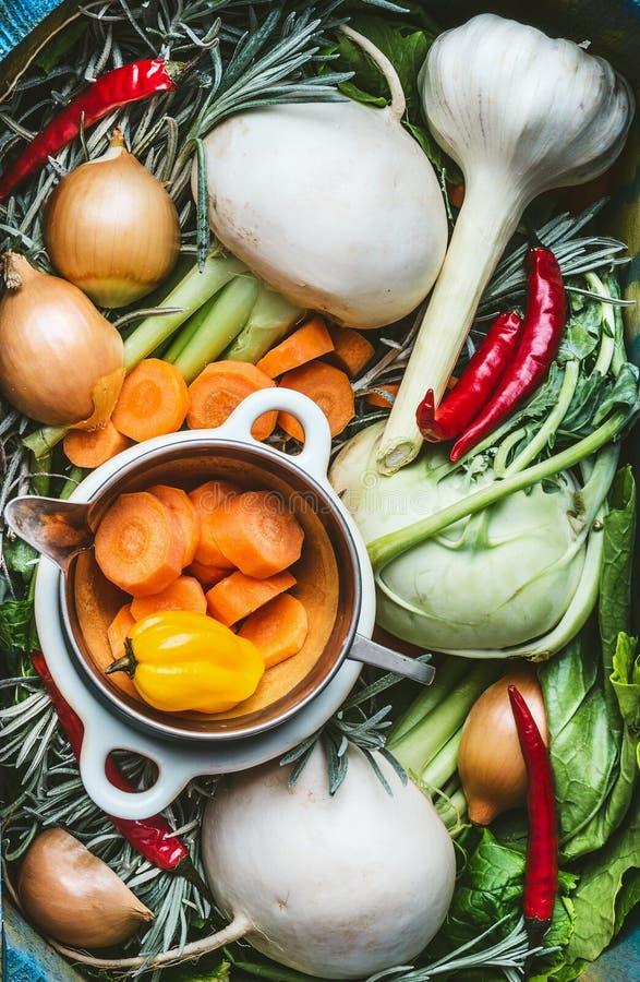 Various organic seasonal regional vegetables ingredients, fresh condiment and root vegetables for Healthy , clean food or vegetari royalty free stock images