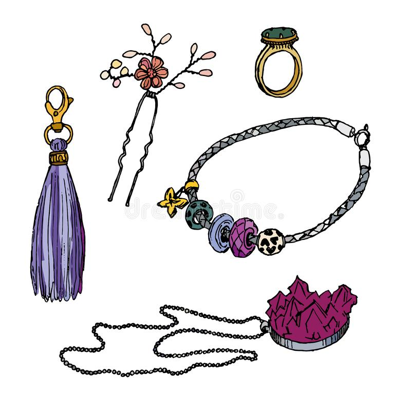 Various ornamentations: ring, Pandora bracelet, pendant, hairpin, keychain with tassel, vector illustration royalty free illustration