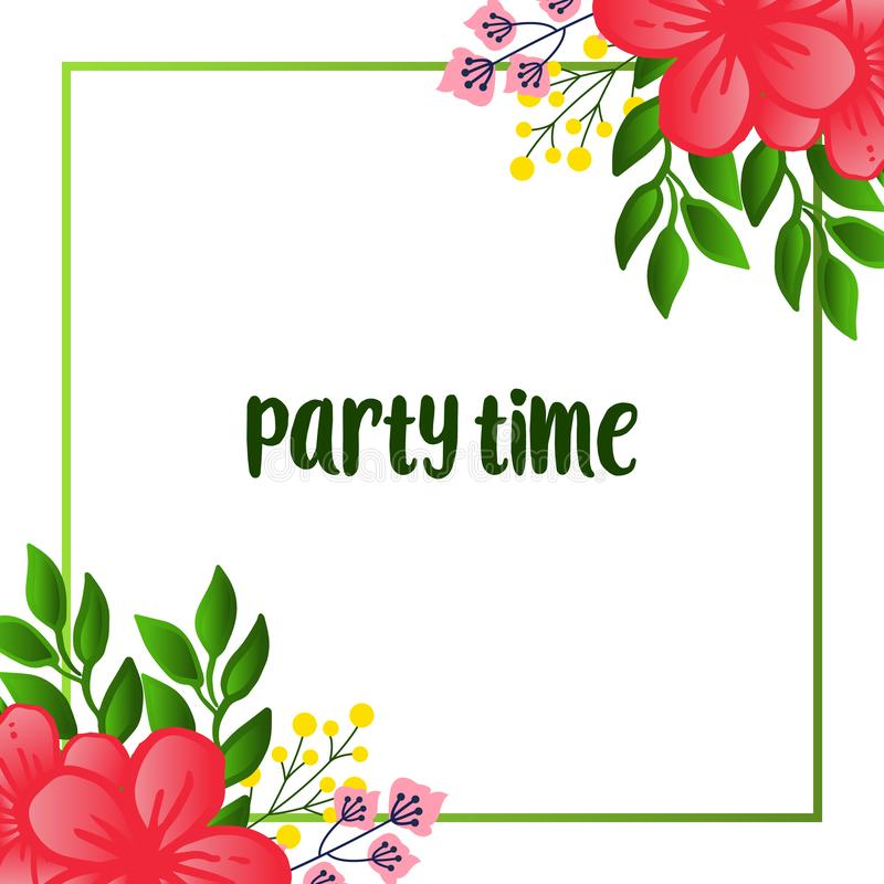 Various ornate of party time card, with abstract background leaf flower frame. Vector. Illustration stock illustration