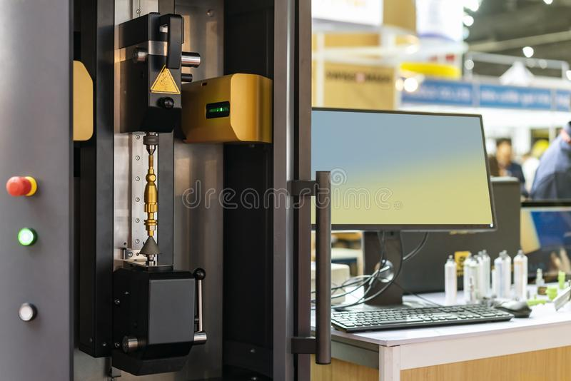 Various parts from manufacturing process during set in room of high technology and precision automatic measuring machine for multi. Inspection dimension shape stock images