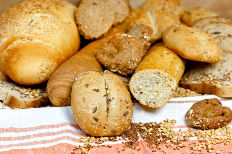 Various pastries and breads royalty free stock photos