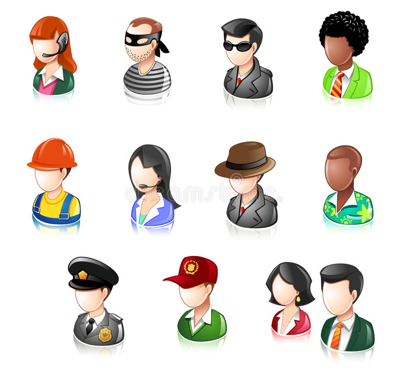 Download Various People Glossy IconSet Stock Vector - Illustration of element, iconset: 16083309