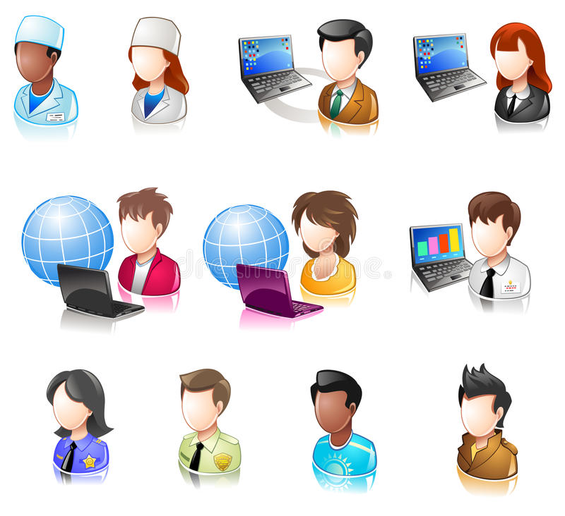 Various People Glossy IconSet 4 royalty free illustration