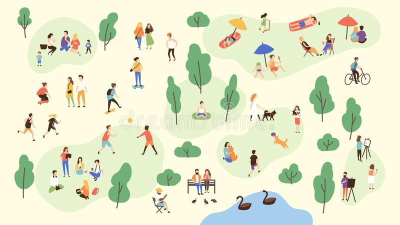 Various people at park performing leisure outdoor activities - playing with ball, walking dog, doing yoga and sports vector illustration