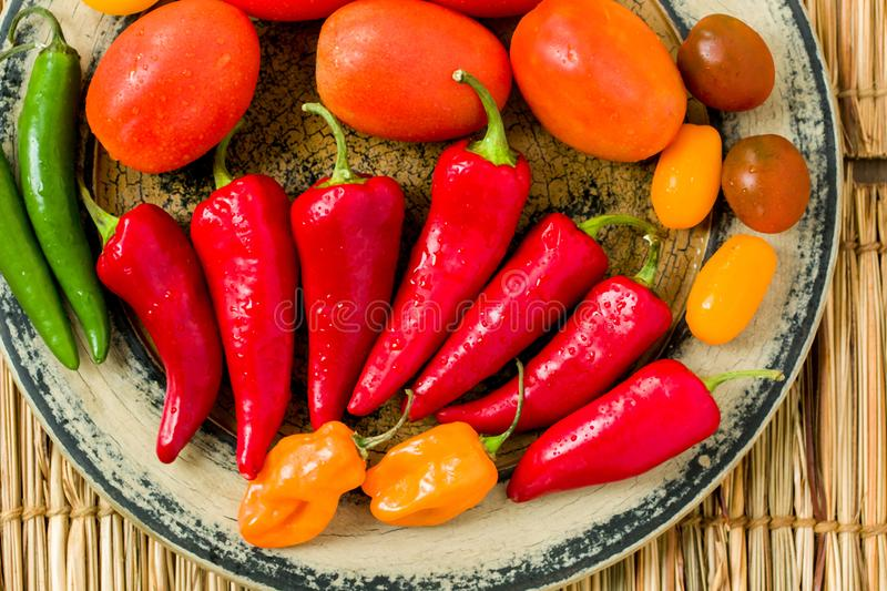 Various Peppers on Rustic Plate royalty free stock image