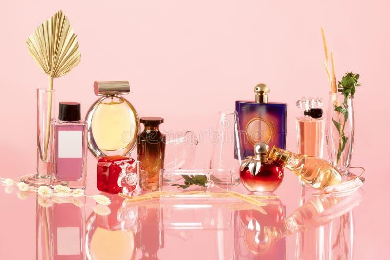 Various perfume bottles stock images