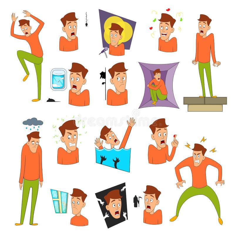 Various phobias icons set, cartoon style stock illustration