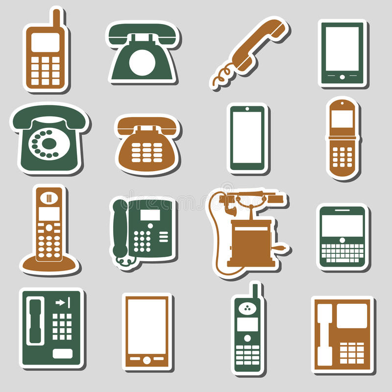 Various phone symbols and icons stickers set eps10. Various phone symbols and icons stickers set stock illustration