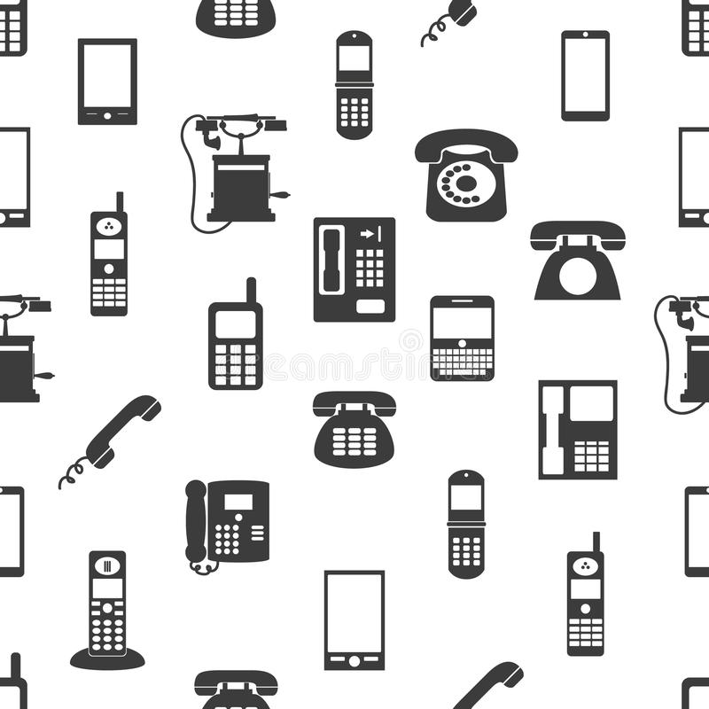 Various phones symbols and icons seamless pattern stock illustration