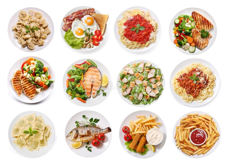 Various plates of food isolated on white background, top view. Set of various plates of food isolated on white background, top view stock images
