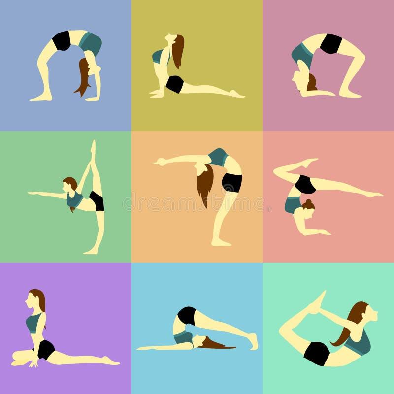 Various Pose Yoga Posture Vector Illustration Set royalty free illustration