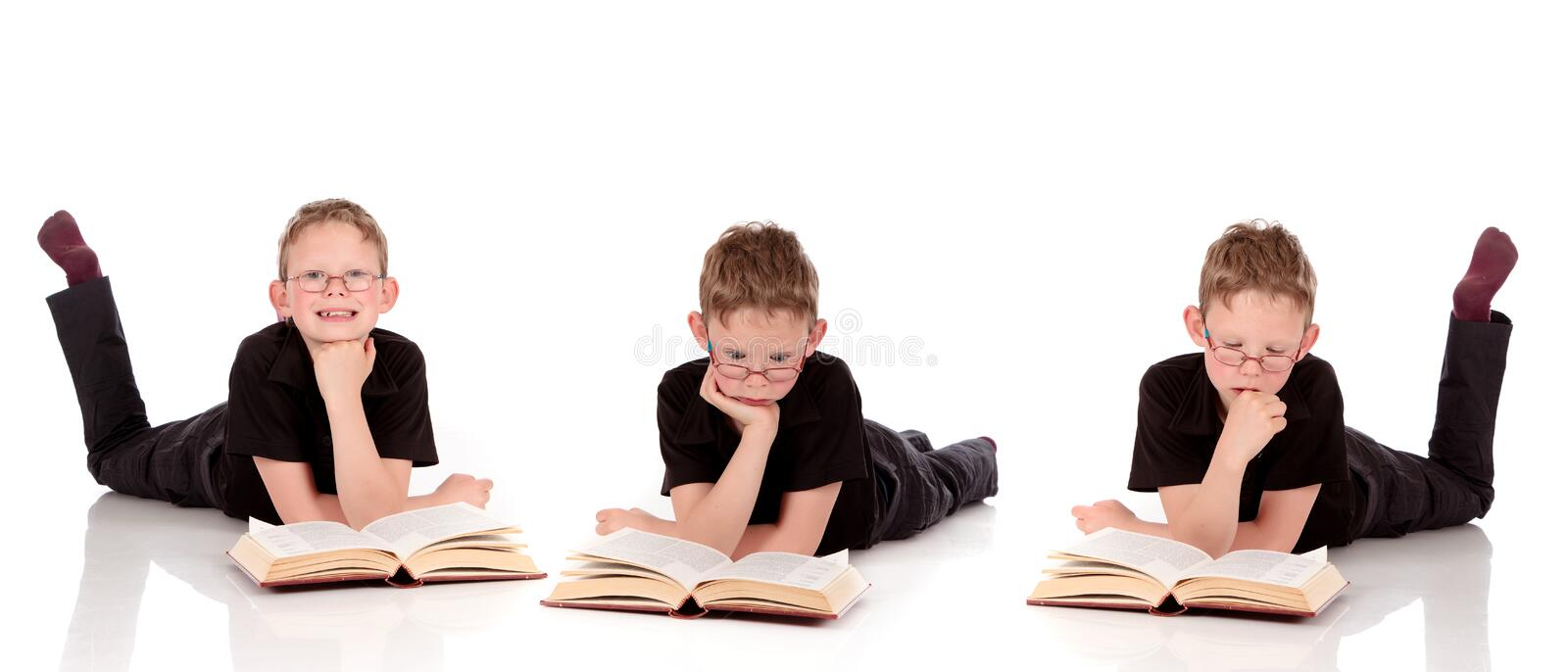Various Poses Young Child Book Stock Photo