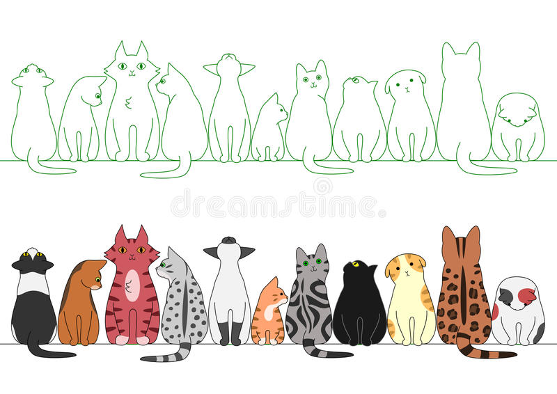 Various posing cats in a row vector illustration