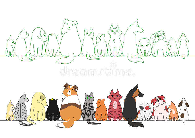 Various posing dogs and cats in a row stock illustration