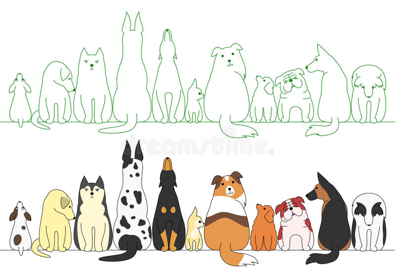 Various posing dogs in a row stock illustration