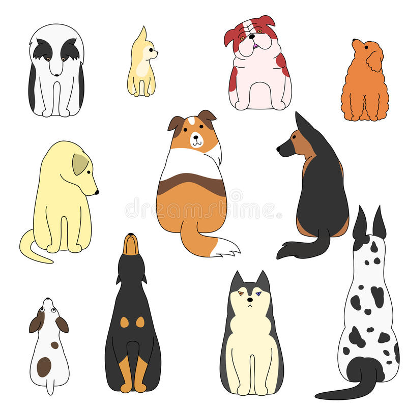 Various posing dogs set. Various breeds of posing dogs set stock illustration