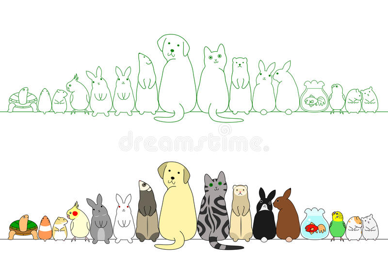 Various posing pets in a row vector illustration