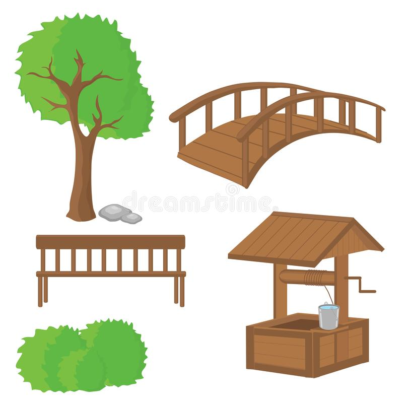 Various products made of wood. Natural production. royalty free illustration