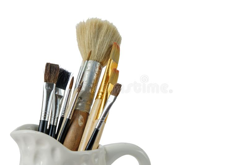 Various professional paint brushes stock photo