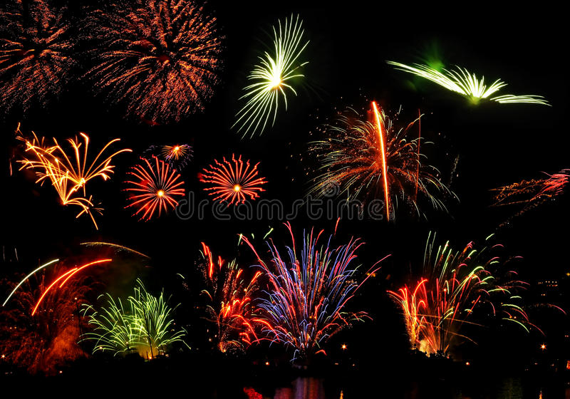Various pyrotechnics in the night royalty free stock images
