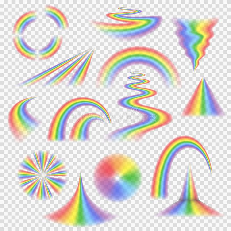 Various rainbow bands, curves, turns, circles and other shapes and objects with perspective depth. Semi-transparent rainbows a set of realistic vector elements vector illustration