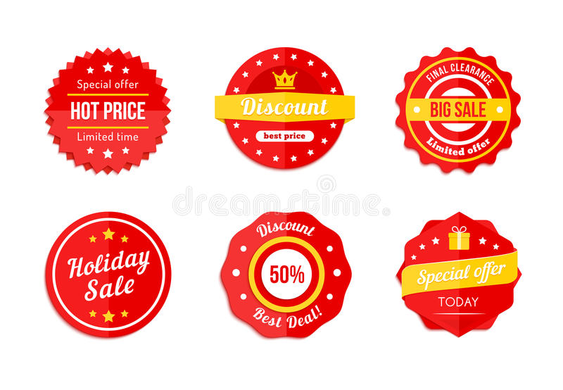 Various Red Discount Sale Tag Icons vector illustration
