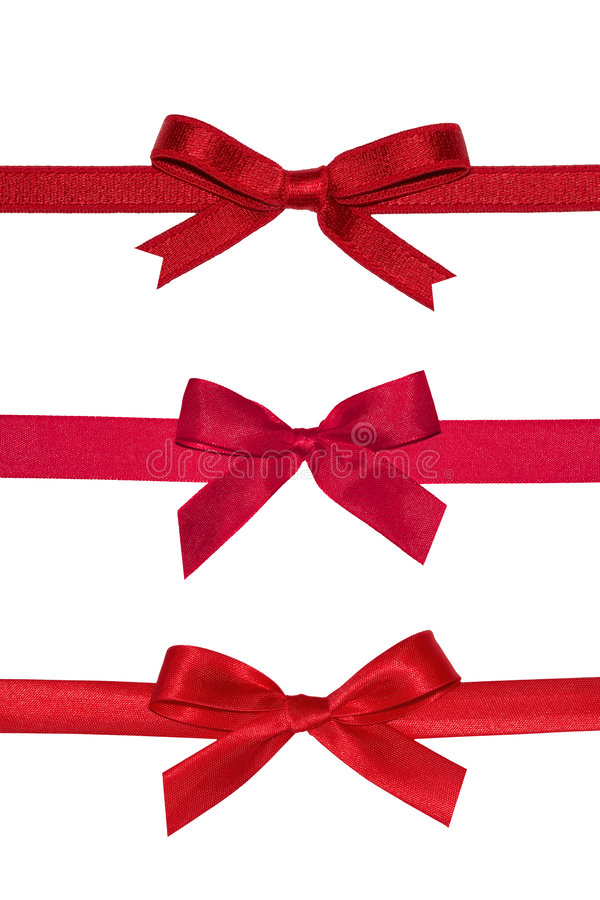 Various red gift bows. stock image