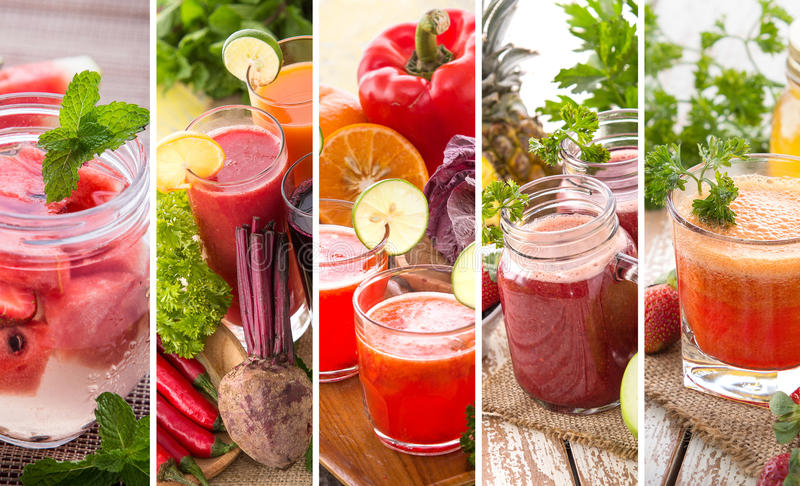 Various red juices from mix tropical fruit stock photo