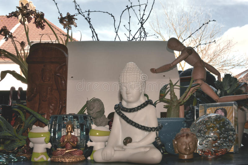 Various religious and cultural sculptures from different religions royalty free stock images