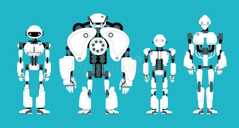 Various robot androids. Cute cartoon futuristic humanoid characters set stock illustration